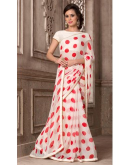 Off White Colour Chiffon Saree  - VARSIDDHI-2885