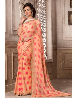 Ethnic Wear Orange Chiffon Saree  - VARSIDDHI-2886