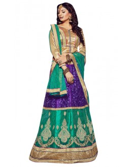 Designer Green & Golden Net Lehenga Choli - VICTORIA-8103