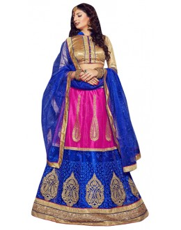 Ethnic Wear Pink & Blue Net Lehenga Choli - VICTORIA-8106