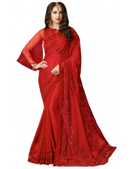 Ethnic Wear Red Satin Chiffon Saree  - VIVIANA 210004