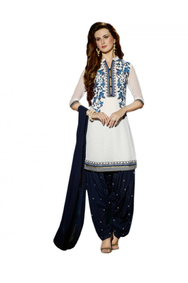 Party Wear White Georgette Patiala Suit - ZPH4656