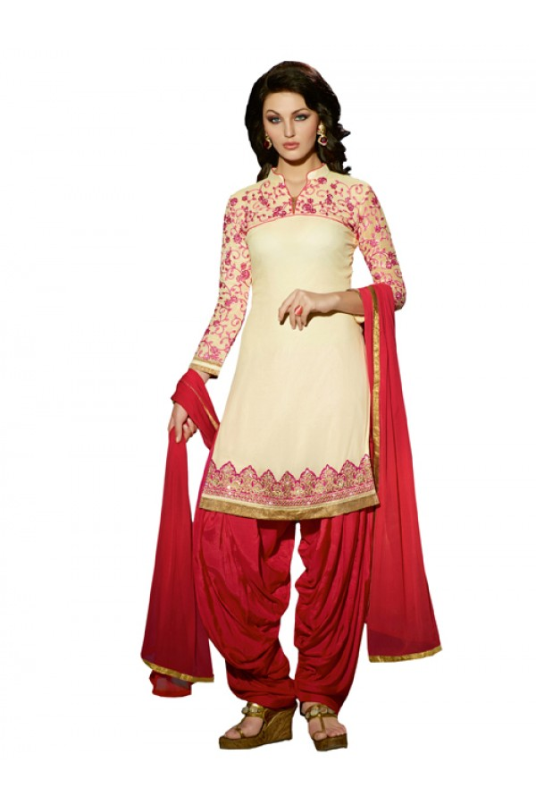 Party Wear Cream Georgette Patiala Suit - ZPH4661