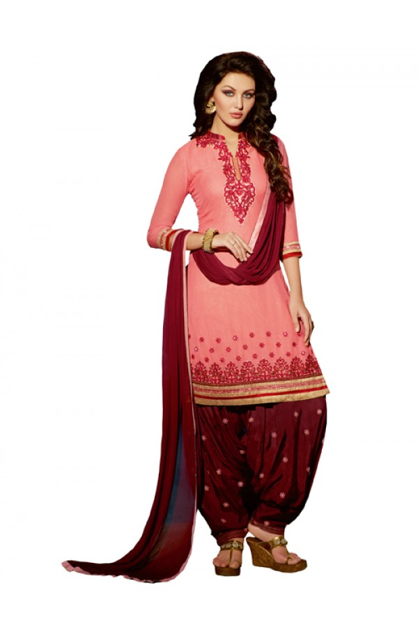 Party Wear Peach Georgette Patiala Suit - ZPH4662