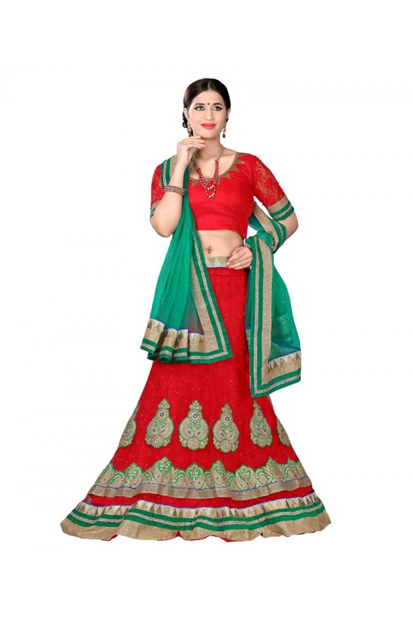 Designer Style Red Net Lehenga Choli - 116red