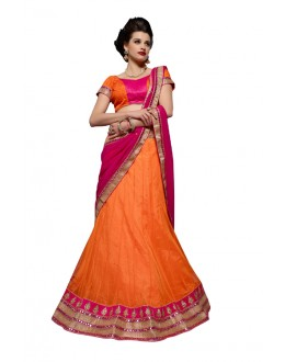 Designer Style  Soft Net Orange Lehenga Choli - 163A