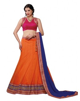 Designer Style  Soft Net Orange Lehenga Choli - 168A