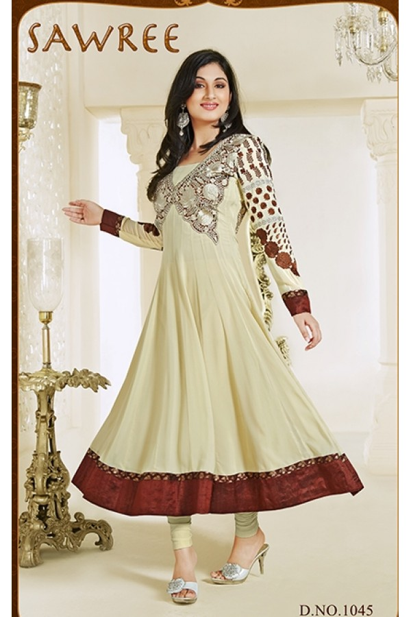 Designer Georgette Cream Anarkali Suit - FFP1-1045