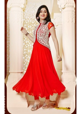 Designer Georgette Red Anarkali Suit - FFP1-1040