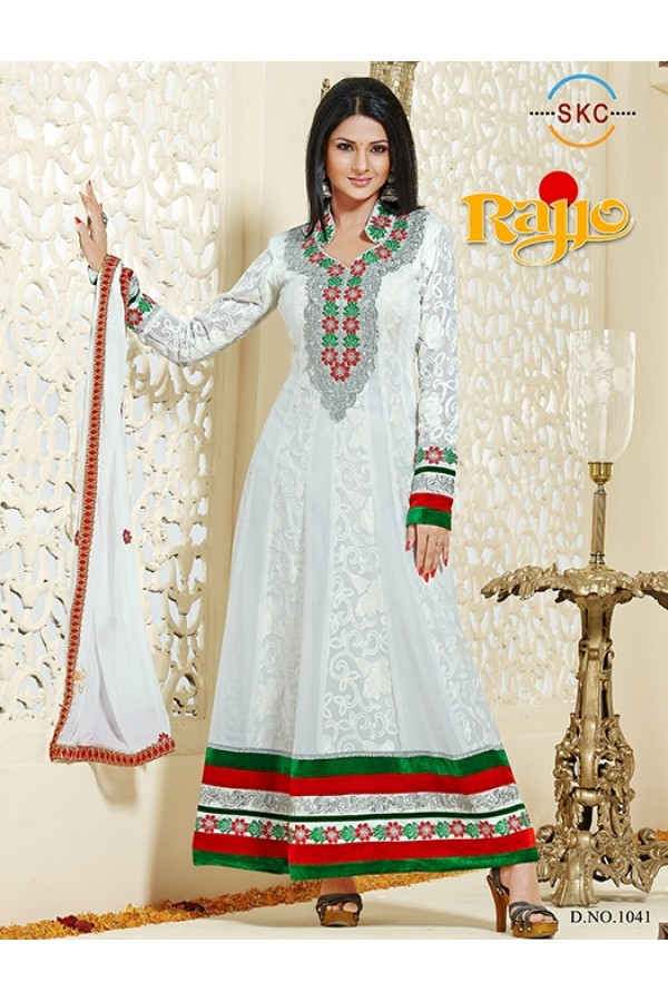 Designer Georgette White Anarkali Suit - FFP1-1041