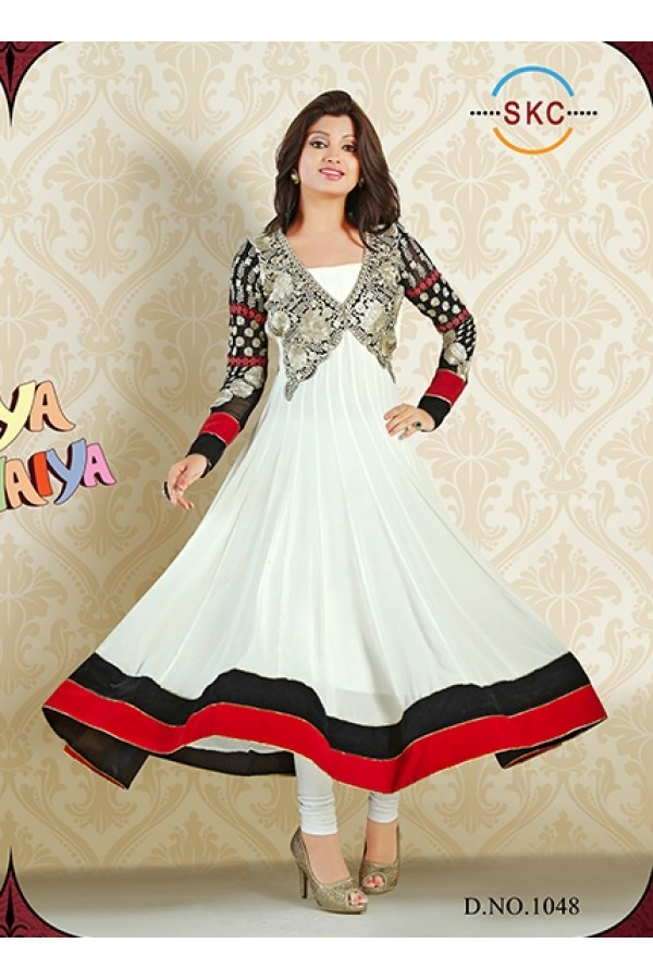Designer Georgette White Anarkali Suit - FFP1-1048