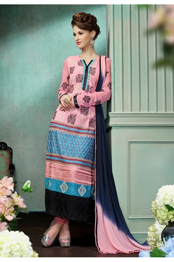 Ethnic Wear Georgette Light Pink Anarkali Suit - FFP12-2021
