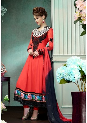 Ethnic Wear Georgette Red Anarkali Suit - FFP12-2018