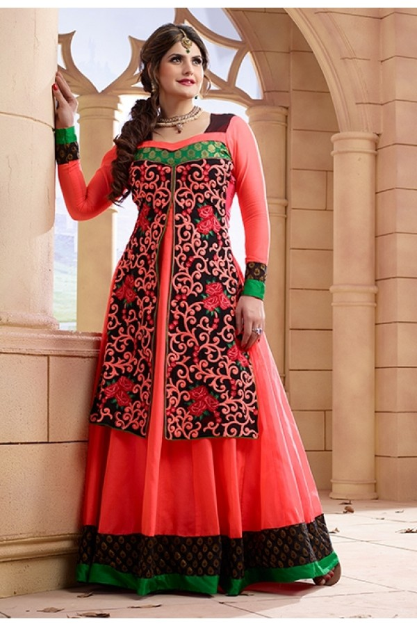 Zarin Khan Georgette Orange Anarkali Suit - FFP13-2028