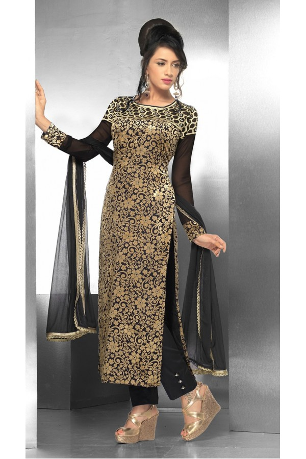 Ethnic Wear Georgette Black Salwar Suit - FFP15-2043