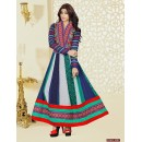 Georgette Blue & Green Anarkali Suit - FFP4-1057