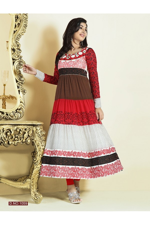 Georgette Brown & Red Anarkali Suit - FFP4-1059