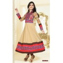 Georgette Cream & Brown Anarkali Suit - FFP4-1058