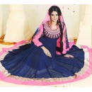 Georgette Navy Blue & Pink Anarkali Suit - FFP4-1054