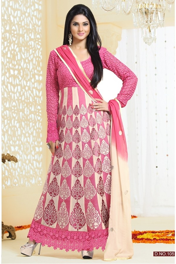 Georgette Pink & Cream Anarkali Suit - FFP4-1051