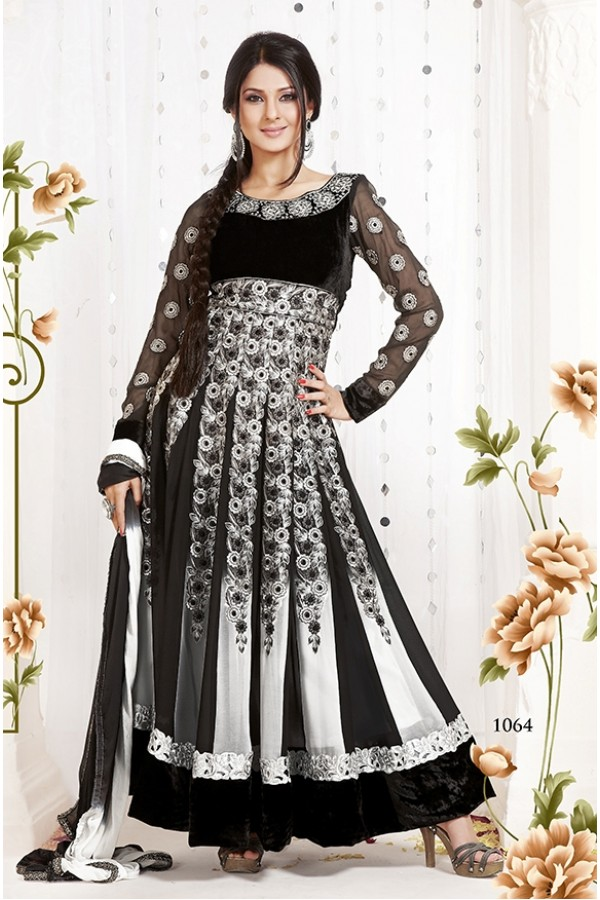 Party Wear Georgette White & Black Anarkali Suit - FFP5-1064