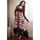 Party Wear Georgette White & Maroon Anarkali Suit - FFP9-1093