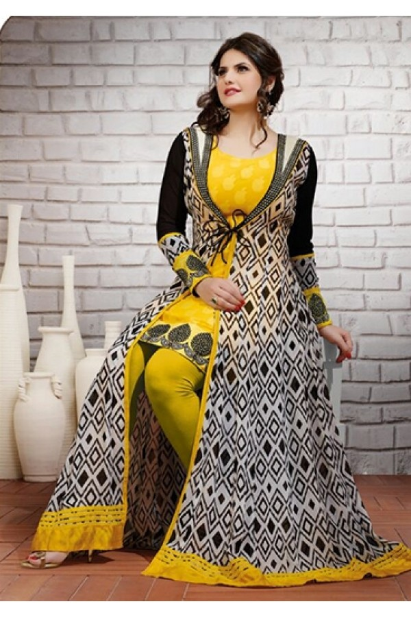 Party Wear Georgette Yellow Anarkali Suit - FFP9-2000
