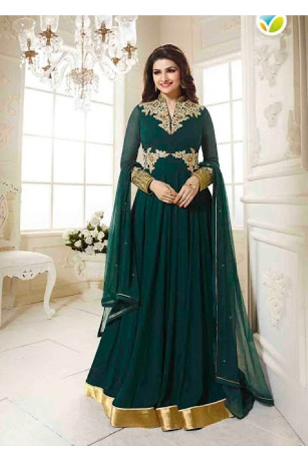 Ethnic Wear Georgette Aqua Green Anarkali Suit - FFVINAY-1004