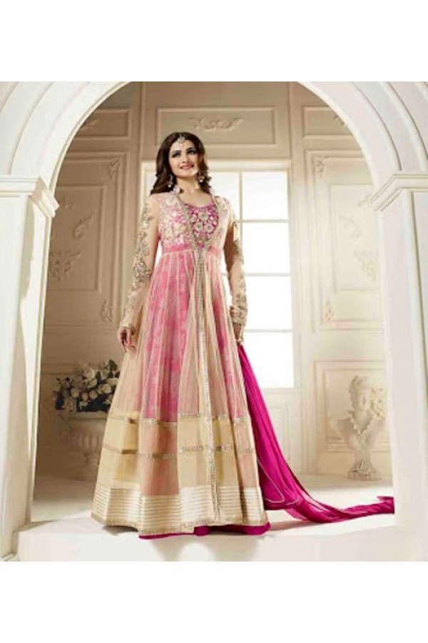 Ethnic Wear Georgette Cream & Pink Anarkali Suit - FFVINAY-1007