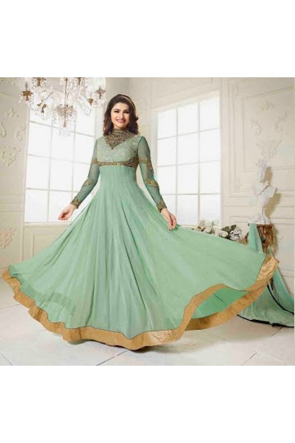 Ethnic Wear Georgette Olive Green Anarkali Suit - FFVINAY-1001