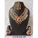 Ethnic Necklace Set With Mangtika & Earrings - 26