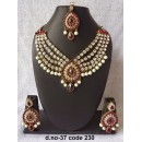 Ethnic Necklace Set With Mangtika & Earrings - 37