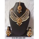 Ethnic Necklace Set With Mangtika & Earrings - 38