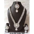 Ethnic Necklace Set With Mangtika & Earrings - 64