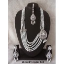 Ethnic Necklace Set With Mangtika & Earrings - 91