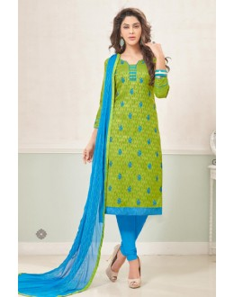 Festival Wear Green & Blue Cotton Jacquard Salwar Suit  - 1001A