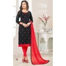 Office Wear Black & Red Cotton Jacquard Salwar Suit  - 1001B