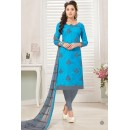 Ethnic Wear Blue & Grey Cotton Jacquard Salwar Suit  - 1002B