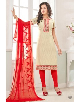 Office Wear Cream & Red Cotton Jacquard Salwar Suit  - 1003A