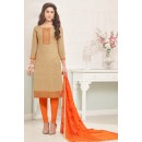 Ethnic Wear Beoge & Orange Cotton Jacquard Salwar Suit  - 1003B