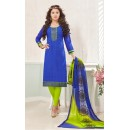 Ethnic Wear Blue & Green Cotton Jacquard Salwar Suit  - 1004B