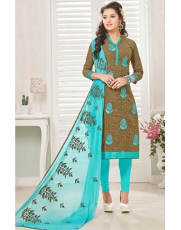 Festival Wear Brown & Blue Cotton Jacquard Salwar Suit  - 1005A