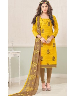 Ethnic Wear Yellow & Brown Cotton Jacquard Salwar Suit  - 1005B