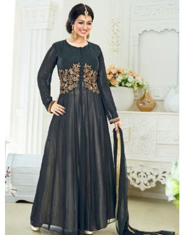 Ayesha Takia In  Black & Cream Banglori Silk Anarkali Suit  - 177