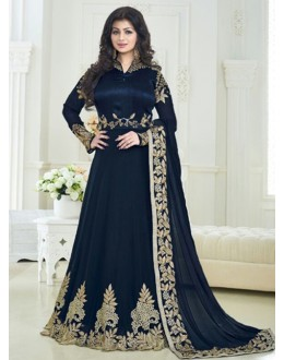 Ayesha Takia In  Navy Blue Banglori Silk Anarkali Suit  - 179