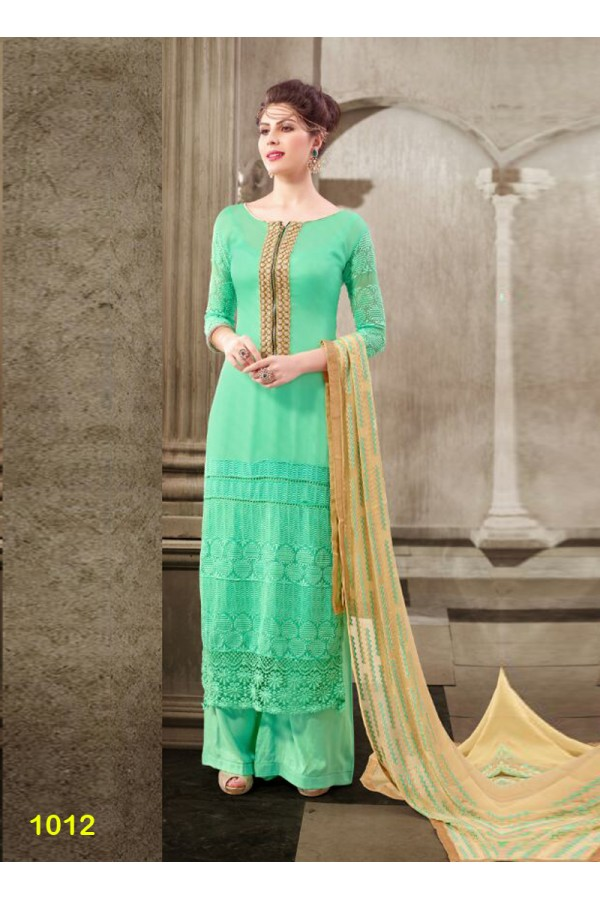 Designer Cyan Embroidered Georgette Palazzo Suit - 24CA74-1012 ( 24CA-2474-FLORIDA )