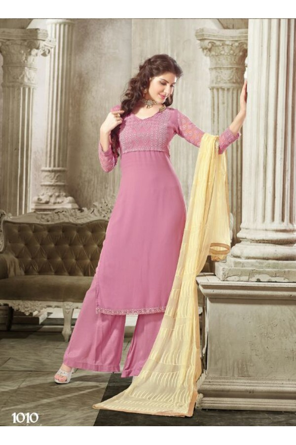 Designer Light Pink Embroidered Georgette Palazzo Suit - 24CA74-1010 ( 24CA-2474-FLORIDA )