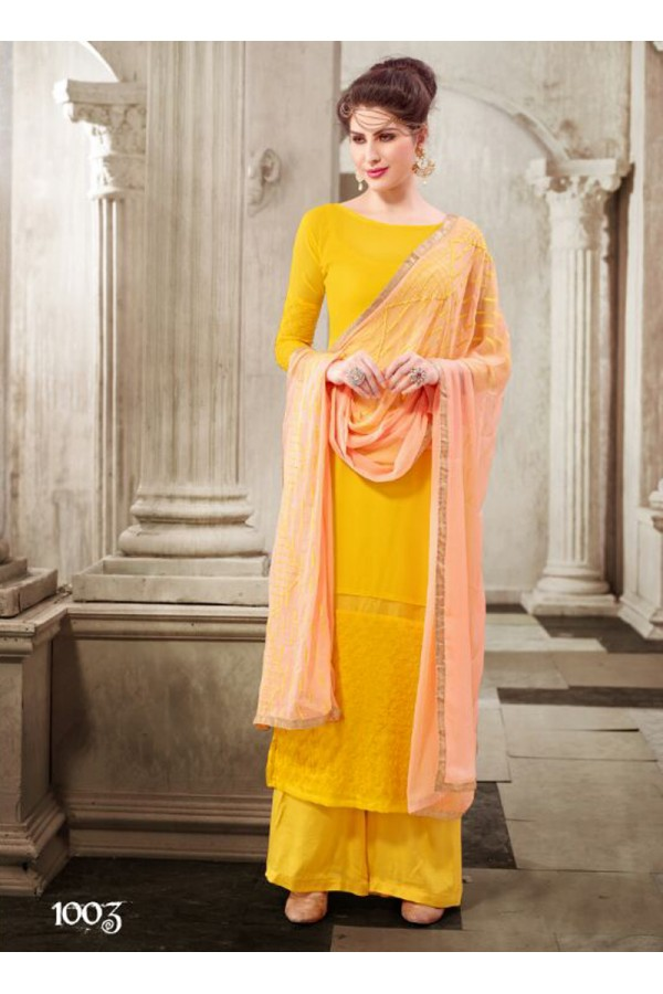 Designer Yellow Embroidered Georgette Palazzo Suit - 24CA74-1003 ( 24CA-2474-FLORIDA )
