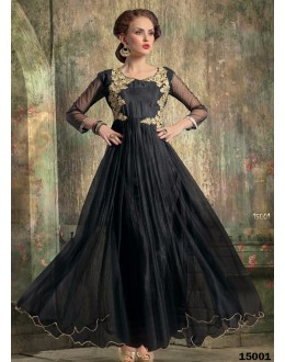 Designer Black Embroidered Georgette Party Wear Gown - 24CA60-15001 ( 24CA-24CA60-HC )