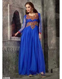 Designer Blue Embroidered Georgette Party Wear Gown - 24CA60-15001 24CA-24CA60-HC )